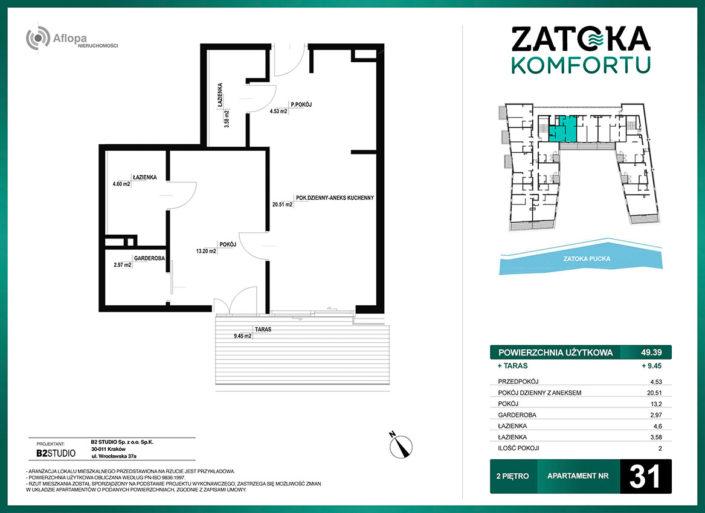 Apartament nr 31 - 2 pokoje - metraż: 49.39 m2 + taras 9.45 m2