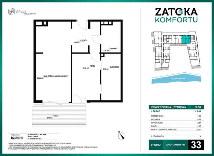 Apartament nr 33 - 2 pokoje - metraż: 58.58 m2 + taras 9.49 m2