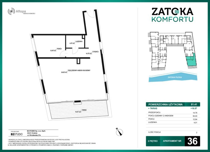 Apartament nr 36 - 2 pokoje - metraż: 81.41 m2 + taras 16.57 m2