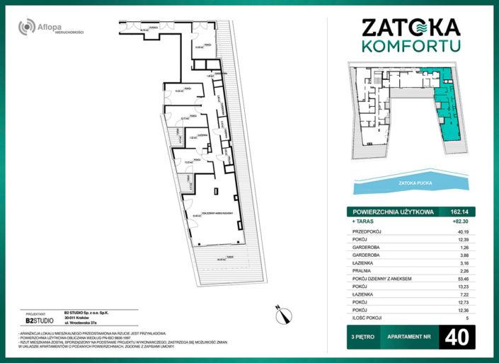 Apartament nr 40 - 5 pokoi - metraż: 162.14 m2 + taras 82.30 m2