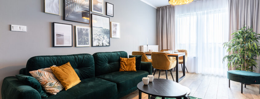 zaaranżowany apartament pod wynajem - pokój dzienny