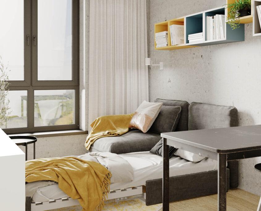 aranżacja apartamentu w systemie coliving w warszawie