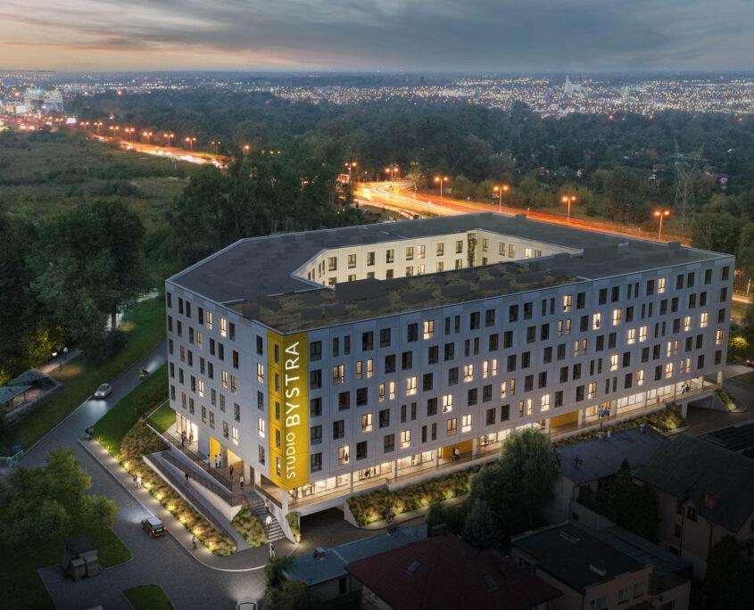 Coliving Warszawa, budynek w warszawie bystra studio